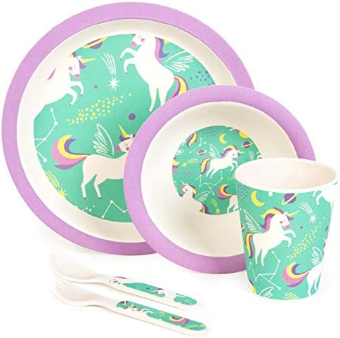boppi 5 Piece Bamboo Eco Friendly Children s Dinnerware and Cutlery Set for kids Toddlers with product image