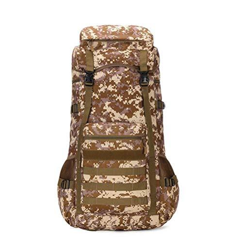 FENGFENGGUO Sac Multifonctionnel Alpinisme Camouflage Homme Grande capacité 70L étanche Sac à Dos Bagages extérieur Sac à Dos Voyage,Desert Camouflage