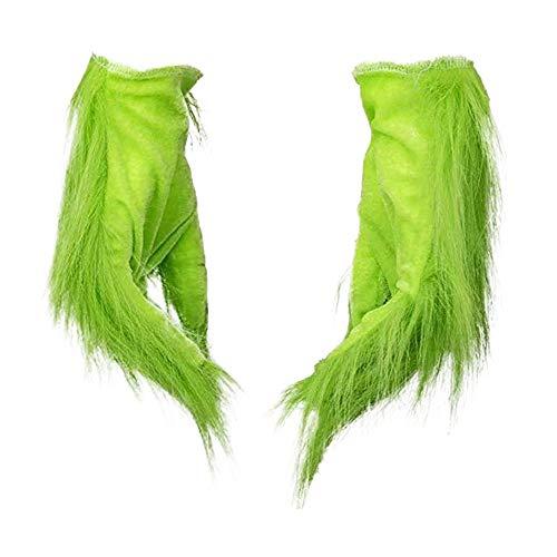 JiangJie Kawaii Grinch Maske mit Weihnachtsmütze Schuhe Handschuhe Kostüm Grinch Cosplay Anzug für Weihnachten - Grüne Handschuhe mit pelzigen Halloween Cosplay Kostüm Zubehör Weihnachtsgeschenke