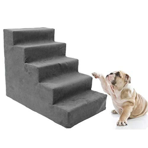 BTPDIAN Upgrade 5 hond stap hoogte bed, alle schuim huisdier trap dier oprit ladder huisdier ladder trap 5 niveau hond spons trampoline oprit voor kitten hond tot 22 pond