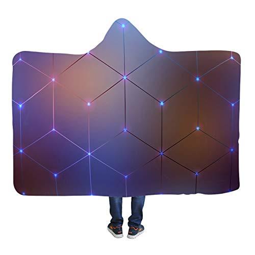 SHIQI Home Manta con capucha, impresión personalizable, 100% fibra química de poliéster, cálida, súper grande, doble