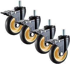 M12 Transport Casters Wielen, Swivel Rubberen Wielen met remmen, Zwarte meubelwielen, Kantoorstoel Vervanging Wielen Set v...