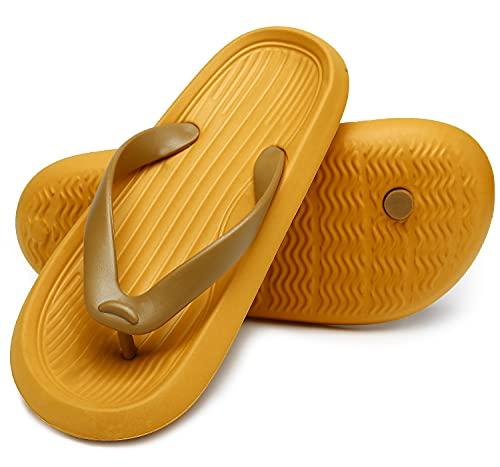 ChayChax Chanclas Hombre Mujer Verano Sandalias de Playa y Piscina Ligero Zapatillas de Ducha Antideslizante(Amarillo,38-39 EU
