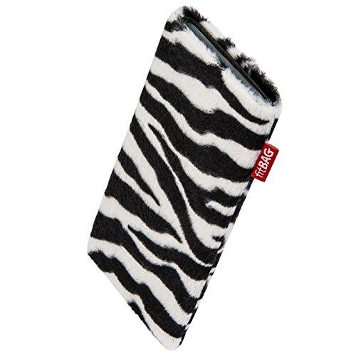 fitBAG Bonga Zebra Handytasche Tasche aus Fellimitat mit Microfaserinnenfutter für Carbon 1 MKII | Hülle mit Reinigungsfunktion | Made in Germany