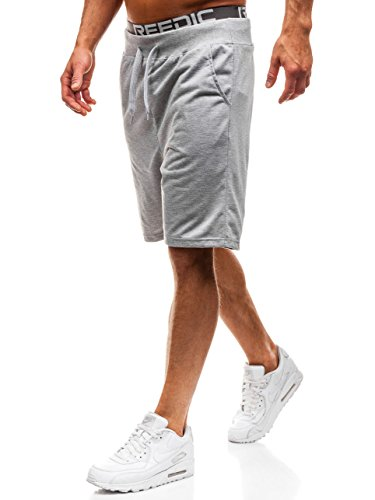 BOLF Herren Shorts Kurzehose Sporthose Sweatshorts Sport Style J.Style KK305 Grau M [7G7]