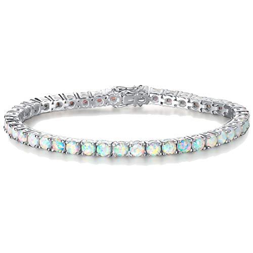 FANCIME Sterling Silver Opal Bracelets 4 Prong Created Fire Opal Tennis Bracelet Charm Fine Jewelry for Women Girls 7 inch Length 4mm Width