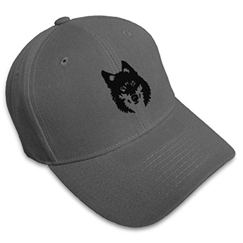 Baseball Cap Mean Wolf Face Black Embroidery Animals Wild Acrylic Hats for Men & Women Strap Closure Dark Grey Design Only