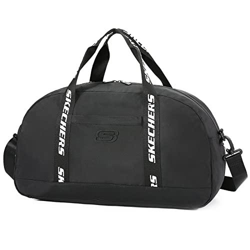 Skechers Reisetasche Weekender Tasche mit Schultergurt Wasserdicht für Unisex, Handgepäck für Fitnessstudio, Sport, Reisen, 29L, Schwarz