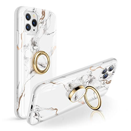 GVIEWIN Marble iPhone 11 Pro Max Case Bundle with Cell Phone Ring Holder, White/Gold (2 Items)