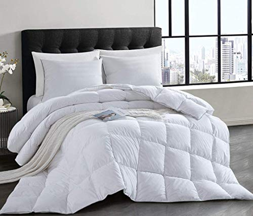 HOMBYS Natural White Goose Down Duvet Double Size 10.5 Tog All Seasons Duvet Insert Classic Quilt Hypoallergenic 100% Cotton Shell Down Proof (10.5Tog, Double)