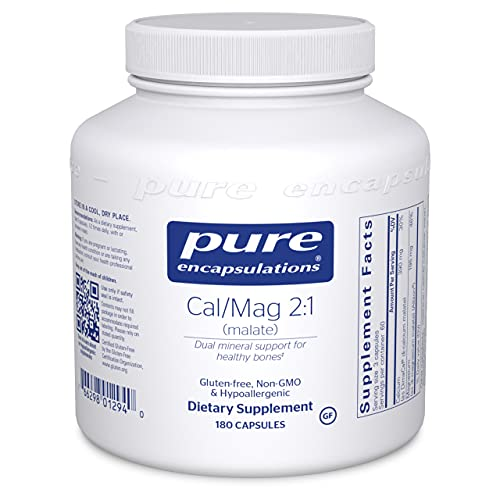 Pure Encapsulations Cal/Mag (Malate) 2:1 | Calcium and Magnesium Supplement in a 2-to-1 Ratio to Support Bones and Cardiovascular Health* | 180 Capsules