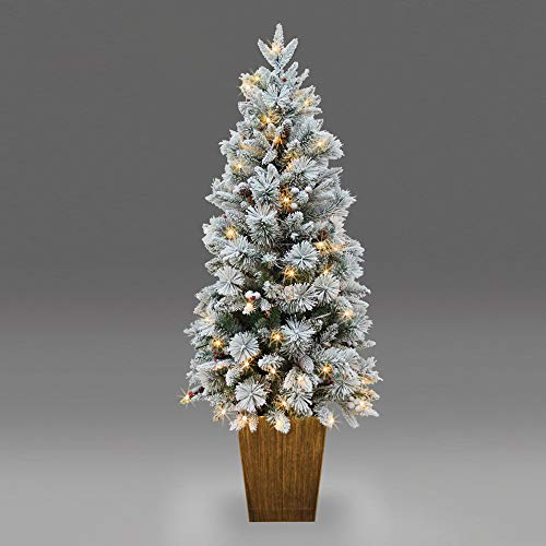 SHATCHI Flocked Porch Pre-Lit Christmas Tree Decorated with Berries Pinecones PVC/PE Tips and Warm White LEDs Xmas Holiday Home Office Decorations-4ft/5ft, Green, 4ft