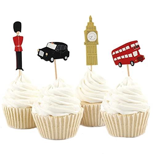 Decoración de cumpleaños Londres, pasteles de cumpleaños inglés, Big Ben Cupcake Topper, fiesta britanica, decoración inglesa, Palacio Buckingham London Cupcake toppers (24 unidades)