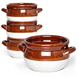 Vumdua French Onion Soup Bowls with Handles, 16 Oz Ceramic Soup Serving Bowl Crocks - Oven Safe Bowls for Chili, Beef Stew, Cereal, Pot Pies, Set of 4