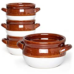 ★FOOD-GRADE MATERIAL: The French onion soup bowls are made of high-quality ceramic, which can withstand higher temperatures. No peculiar smell and safe to use. The excellent coated glaze does not fade and protect it not easy to mold. ★DOUBLE-HANDLE D...