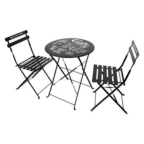 THE HOME DECO FACTORY Lot de 2 Chaises avec Table de Jardin, Métal-Acier, Noir, 60 x 71 x 60 cm