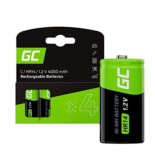 Green Cell 4000mAh 1.2V 4 Stck Vorgeladene NI-MH C-Akkus - Akkubatterien HR14 R14 Babyzellen (C), sofort einsatzbereit, geringe Selbstentladung, wiederaufladbare Akku Batterie, ohne Memory-Effekt