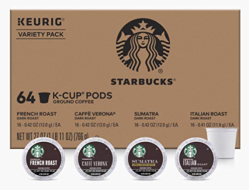 Starbucks KCups Coffee Pods | Variety Pack for Keurig Brewers | 1 box (64 pods total) (Dark Roast Variety, 64 Count)