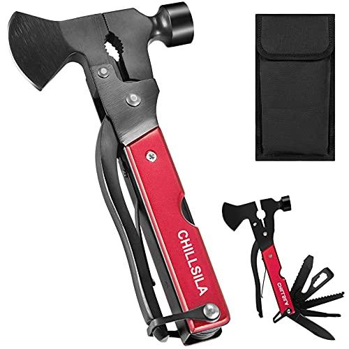 Multitool, 14 in 1 Tragbares Taschenwerkzeug mit Axt Hammer Taschenmesser Schraubendreher, für Camping, Wandern, Outdoor Survival Kit Geschenk für Männer