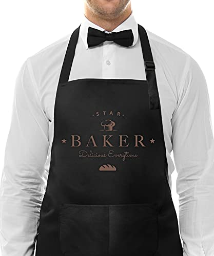 Genrics Funny Unisex Cooking Kitchen Aprons -Star Baker Delicious Everytime-Fathers Day/Husband/Dad Birthday Gift Adjustable Apron with Pockets Best for Cooking Baking Black(27.50'x31.50')
