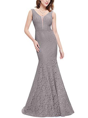 Ever-Pretty Cuello en V Vestido de Noche a Sirena para Mujer Gris 52
