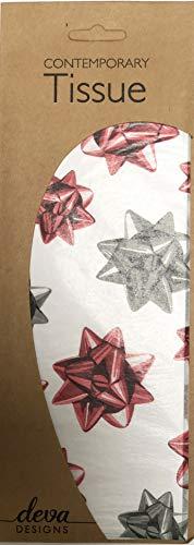 Geschilderde strikken Rode Present Strikken Gedrukt Gedessineerd Weefsel Inpakpapier Deva Ontwerpen Luxe 4 Vellen 50 x 70 cm