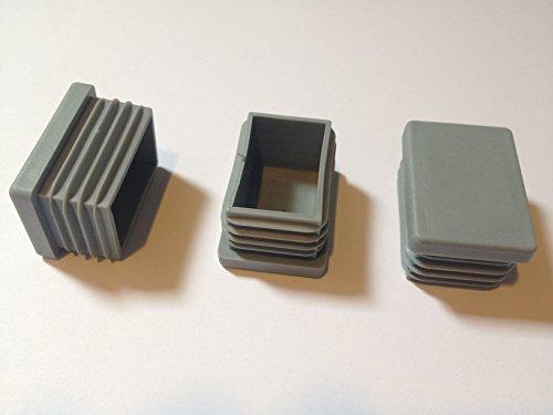 ( 20 Stück ) 40x15 mm (Aussen, WS: 1 - 2,25) Rohrstopfen / Stuhlstopfen / Gleiter / Kappe / Lamellenstopfen / GRAU