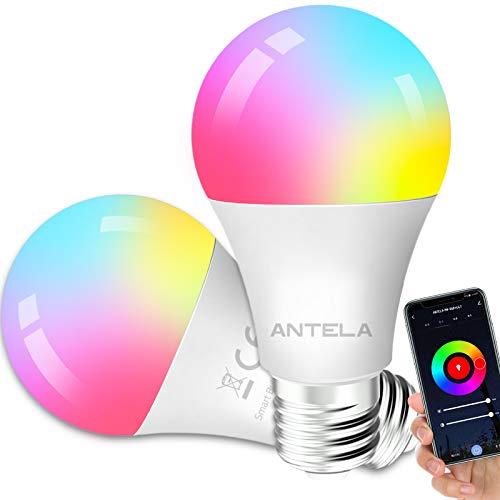 Bombilla LED Inteligente WiFi Regulable 9W 806 Lm Lámpara E27, (Equivale 80W), Bombilla Regulable RGBCW 2700K-6500K, Compatible con Alexa / Google Home, 2 Paquete