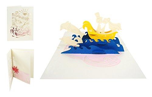 Besondere handgemachte Hochzeitskarte 3D Pop Up Karte zur Hochzeit Glückwunsch Verlobung Jahrestag Hochzeitsreise Meer Honeymoon Flitterwochen - Brautpaar & Boot 039