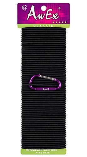 AwEx Black Hair Ties,45 PCS, 3 mm Regular Loop Hair Bands for THIN Hair,No Metal Elastics,Black Ponytail Holder for FINE Hair