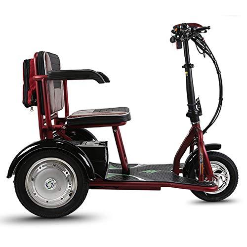 PinkDreamland Scooter eléctrico de Tres Ruedas Plegable para Adultos con un Alcance de Crucero de 18 Millas para Personas Mayores o discapacitadas
