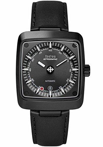 Zodiac ZO6605 - Reloj de Pulsera para Hombre (Acero Inoxidable y Cuero, diseño de astronomía Suiza), Color Negro