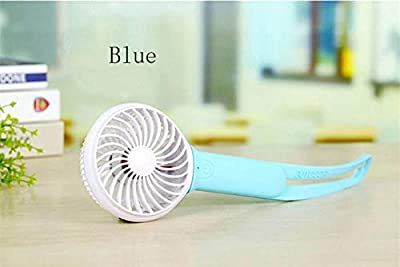 DeemoShop Mini USB Hand held Fan Ventilator Rechargeable Battery Multifunction Portable Cooling Fan Led Light for Outdoor Home Office
