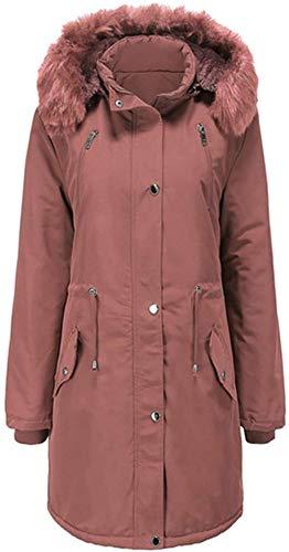 DPJ Abrigo con capucha para mujer, acolchado, diseño de pez esférico, con capucha, cuello alto, bolsillo grande, abrigo largo