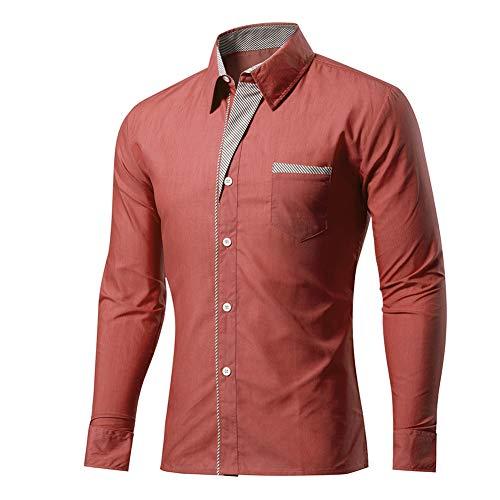 Mr.BaoLong&Miss.GO Camisas De Hombre Camisas De Moda Camisas De Hombre De Color De Contraste Camisas De Hombre De Manga Larga Antiarrugas Sin Planchar A Rayas