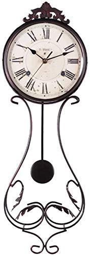 LXYZ Reloj de Pared Vintage de Hierro Forjado, Reloj de péndulo rústico silencioso, Reloj de Cuarzo Art Deco, Adecuado para Sala de Estar