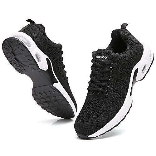 Ezkrwxn Women Sport Running Shoes Athletic Tennis Walking Sneakers Mesh Breathable Comfort Gym Runner Jogging Shoes Black Size 7
