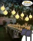 Guirnaldas Luces Exterior Solar [2 Pack], Kolpop 4.5M 30LED Cadena de Bola Cristal Luz, Guirnalda Solar LED Bola de Cristal Luces Decoracion para Navidad Terraza Hogar Jardín Arboles Patio Bodas