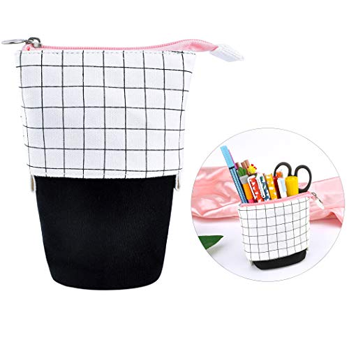 iSuperb Telescopic Pencil Case Stand Up Pen Bag Grid Pencil Holder Canvas Stationery Pouch Cosmetic Bags