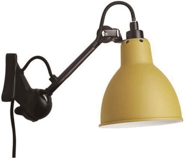 SLIANG Wandleuchte Nordic Triangle Round Base Wandleuchte Mode verstellbar praktische schmiedeeiserne Wandleuchte Schlafzimmer Nachttischlampe Leselampe Büro (schwarz gelb)