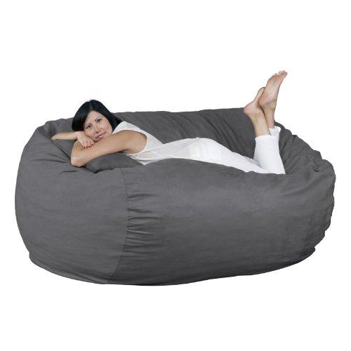 FUGU Bean Bag Chair, Premium Foam Filled 6 XL, Protective Liner Plus Removable Machine Wash Grey Cover