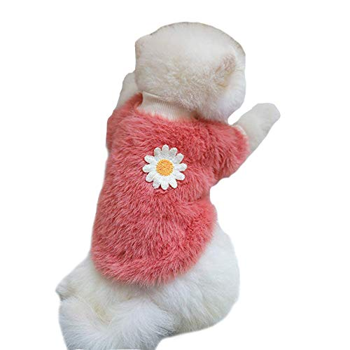 Pet Clothes, Dog Sweater with Daisy Flower Decor Warm Soft Puppy Sweatshirts Outfit Costume for Small Dogs Medium Dogs (M:Pink)