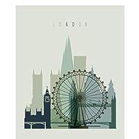 YQQICC 漫画現代の有名な建物都市ロンドン超高層ビルキャンバス絵画リビングルームの壁の写真 -40x50cmフレームなし