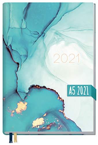 Chäff-Timer Classic A5 Kalender 2021 [Smaragd Gold] mit 1 Woche auf 2 Seiten | Terminplaner, Wochenkalender, Organizer, Terminkalender mit Wochenplaner | nachhaltig & klimaneutral