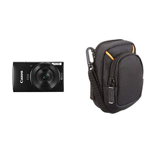 Canon IXUS 190 Digitalkamera (20 MP, 10x optischer Zoom, 6,8cm (2,7 Zoll) LCD Display, WLAN, NFC, HD Movies) schwarz & AmazonBasics Kameratasche für Kompaktkameras, mittlere Größe