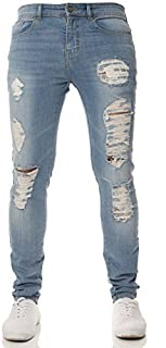 New Mens ENZO Super Stretch Skinny Jeans Ripped Distressed Designer Lightstone Wash 34 W X 30 S