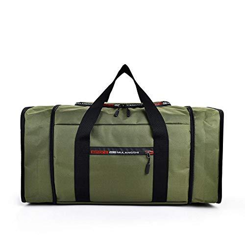 Men's Large Capacity Adjustable Travel Bag Foldable Waterproof Oxford Luggage Handbag Weekend Backpack Mobile Storage Bag-Green