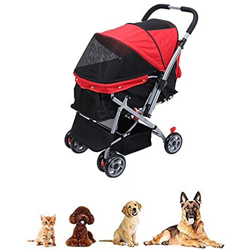 KUMADAI Dog Stroller, Pet Stroller for Cats Dogs with Reversible Handle, 4 Wheels Travel Stroller Carriage for Small Medium Large Pets,Red