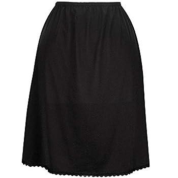 Valair Classic Short and Long Half Slip Skirt for Ladies and Girls - Slight Flair - Anti Static - Ranges 14  Till 34  Lengths Black