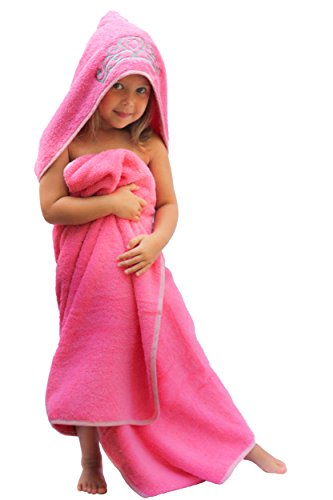 """Ultra-Homes Princess Hooded Kid Towel (Pink), 27.5"""" x 49"""", Plush and Absorbent Luxury Bath Towel! 600 GSM, 100% Cotton"""